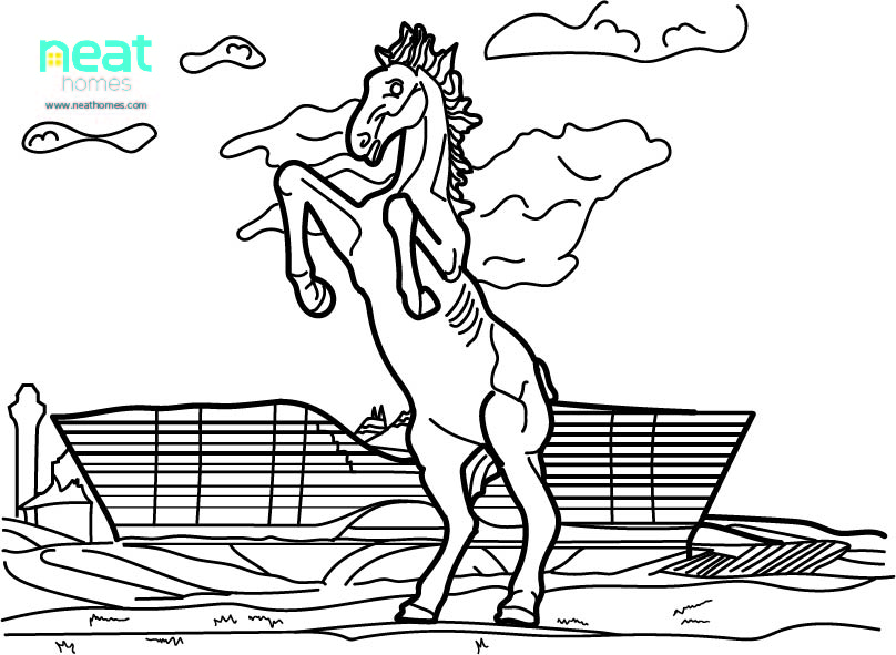 Coloring page of Blucifer in Denver, Co
